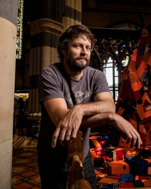 Ben Quilty is seen with 'Not a Creature was Stirring' at St Pauls carhedral in Melbourne, Australia.