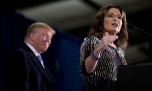 Sarah Palin endorses Trump during a rally at Iowa State University in January 2016.