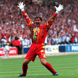 No way past: David Seaman celebrates at Wembley in 1996.