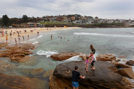 Swimmers cool off in the humid weather at Bronte Beach