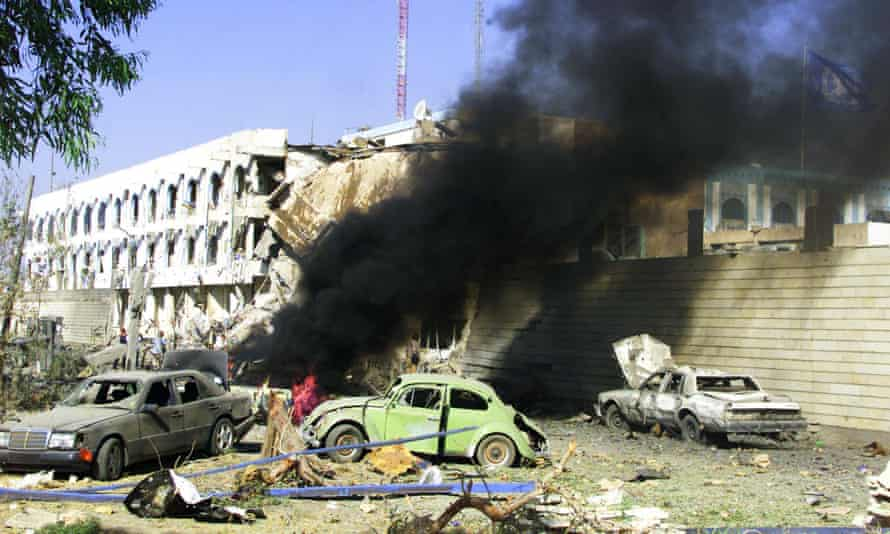 The United Nations headquarters in Baghdad after a bomb which left 22 people dead, 19 August 2003.