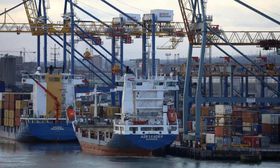 Container ships are berthed at the Port of Belfast, Northern Ireland