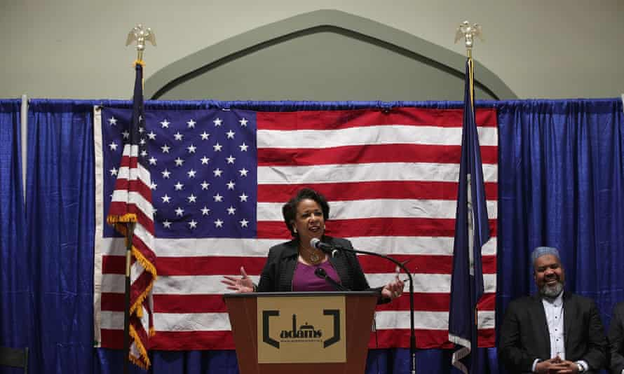 Loretta Lynch delivers a speech on Monday in Sterling, Virginia.