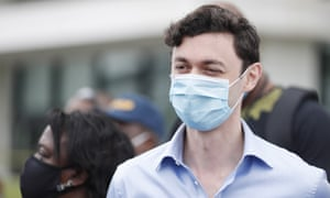 Jon Ossoff joins protesters in Atlanta, Georgia, on 15 June.