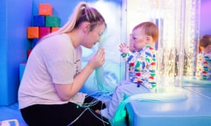 Freddie, 2, with his mother Becky Nash, 26, at the Royal Brompton hospital.