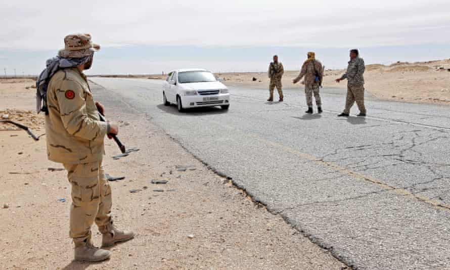 Libyan soldiers at a military outpost west of the city of Sirte, Isis's stronghold