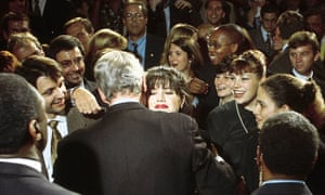 Monica Lewinsky and Bill Clinton at a Democratic fundraiser in 1996.