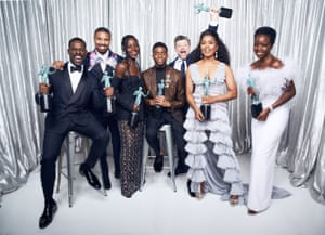 Sterling K. Brown, Michael B. Jordan, Lupita Nyong'o, Chadwick Boseman, Andy Sirkis, Angela Bassett and Danai Gurira, winners of Outstanding Performance by a Cast in a Motion Picture for Black Panther, pose in the Winner's Gallery during the 25th Annual Screen Actors Guild Awards in Los Angeles on 27 January 2019.
