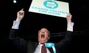 Nigel Farage speaking at a Brexit party campaign event in Sunderland.