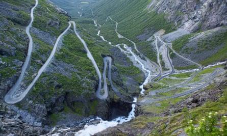 The hairpin bends of the Trollstigen road, Norway