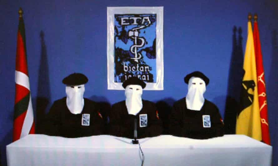 A still from a video published in January 2011 of Eta members announcing a 'permanent, verifiable ceasefire'.