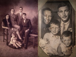 (Left) The Callinicos. Taken in 1939 in a portrait studio in Johannesburg my mother, Luli Callinicos, is seen as a toddler posing with her parents, Thalia and Yanni Callinicos, and my grandfather's two brothers. They had arrived in South Africa a few years before from a tiny village on a small Greek island. (Right) The Websters. My father on the right with his older brother, Trevor and my grandparents Enid and Lionel Webster