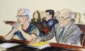 Jeffrey Epstein, left, in a July courtroom sketch.
