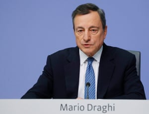 ECB President Draghi speaks during today's news conference at ECB headquarters in Frankfurt