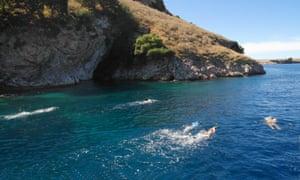 The Big Blue swimmers off the coast of Lefkada, Greece