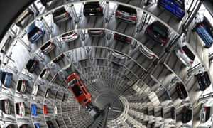 A VW Golf is pictured inside the so-called cat towers of car manufacturer Volkswagen AG at the company's assembly plant in Wolfsburg, Germany.