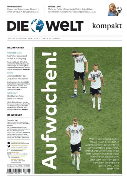 Die Welt's front page on Germany's defeat by Mexico.