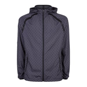 dark blue, black and white patterned zip up running jacket, New Look
