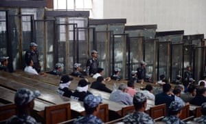 The courtroom and soundproof dock at the Rabaa mass trial.