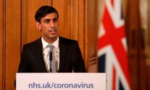 The UK chancellor, Rishi Sunak, at a coronavirus news conference in Downing Street