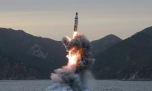 An undated file photo released on 24 April 2016 by North Korean Central News Agency (KCNA) shows an 'underwater test-fire of strategic submarine ballistic missile' conducted at an undisclosed location in North Korea.