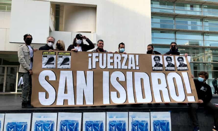 Cubans living in Spain protest earlier this week in support of the San Isidro movement.