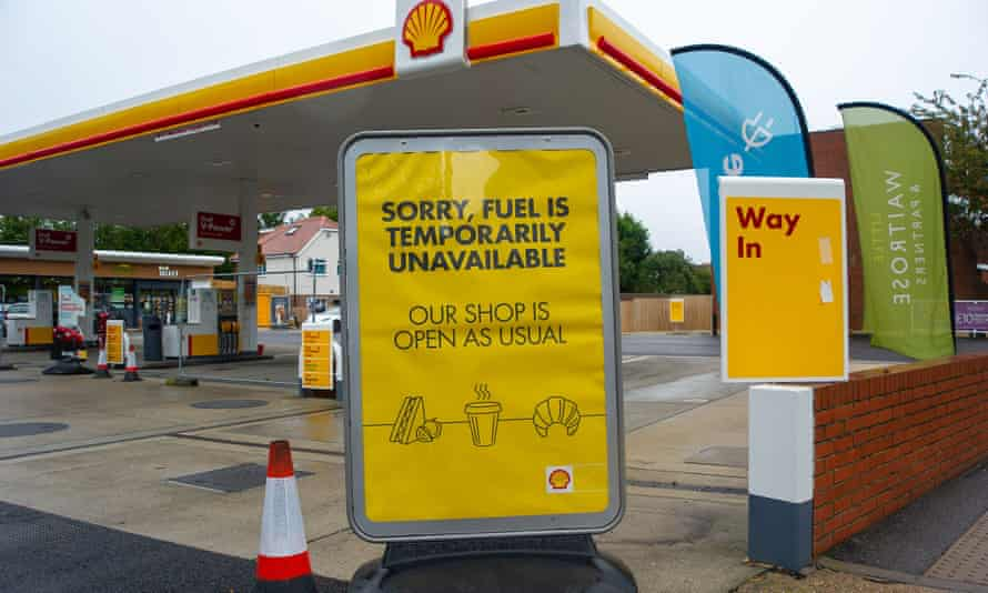 A Shell garage with sing saying no fuel