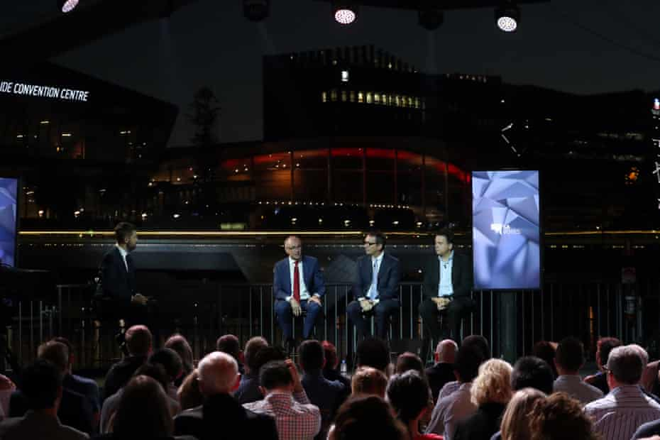 Jay Weatherill, Steve Marshall and Nick Xenophon at Monday's leaders debate.