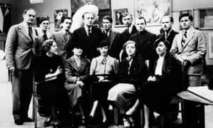 Artists at the first surrealist exhibition to be held in London. Back row, from left, are Rupert Lee, Ruthven Todd, Salvador Dalí , Paul Eluard, Roland Penrose, Herbert Read, E LT Mesens, George Reavey and Hugh Sykes-Davies. Front row, from left, Diana Lee, Nusch Eluard, Eileen Agar, Sheila Legge and unknown.