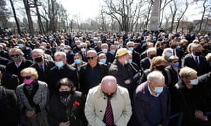 Thousands attended the funeral of Zagreb mayor Milan Bandic despite coronavirus restrictions on March 3, 2021 in Zagreb.