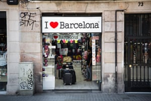 'I love Barcelona' sign above a shop in Barcelona.