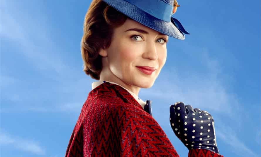 Emily Blunt in Mary Poppins Returns, a sequel to the 1964 Mary Poppins.