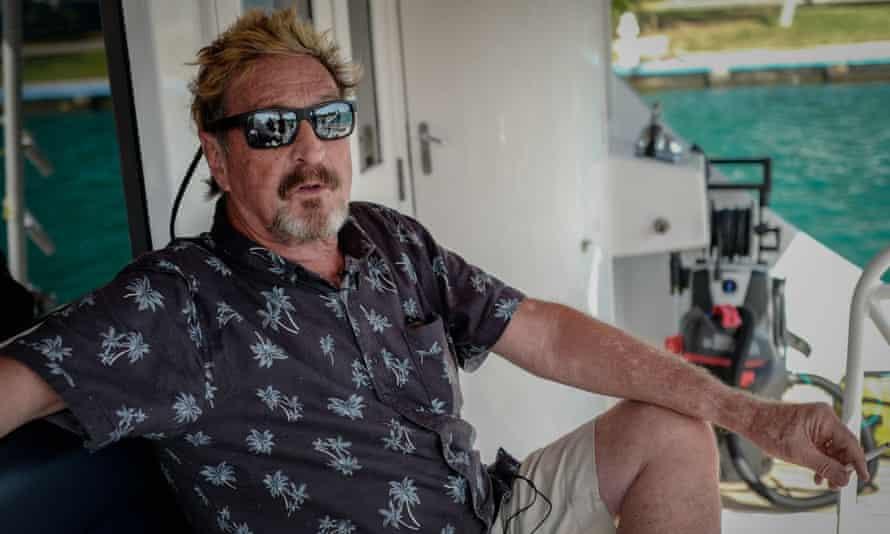 John McAfee on his yacht anchored at the Marina Hemingway in Havana, on 26 June 2019.