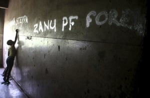 Graffiti in support of the ruling Zanu-PF party on a building in Harare