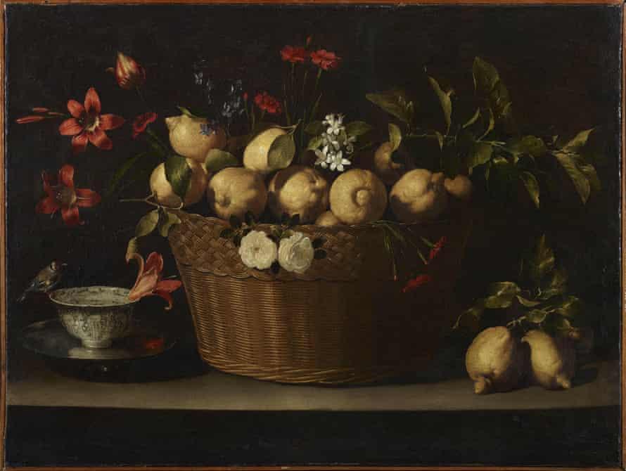 Still Life with Lemons in a Wicker Basket by Juan de Zurbarán