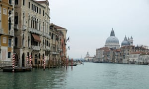 The Grand Canal is virtually deserted in Venice