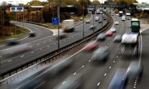 Traffic on a motorway. The chancellor promised to return taxes on new cars to 'the use for which it was originally intended' by creating a new road fund.