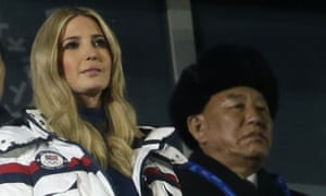 Ivanka Trump and Kim Yong Chol, the leader of the North Korean delegation, at the closing ceremony of the Winter Olympics on Sunday.