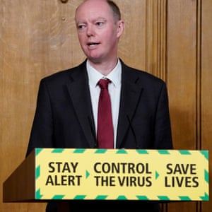 The chief medical officer, Chris Whitty, at the Downing Street press conference.