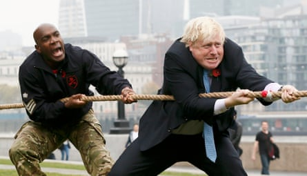 Boris Johnson takes part in a tug-of-war