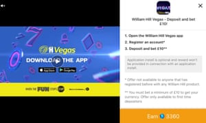 A William Hill advert that appeared within the Looney Tunes World of Mayhem app in February.