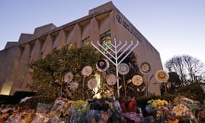 A menorah is installed outside the Tree of Life Synagogue in Squirrel Hill.