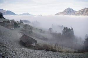 Uri, Switzerland Fog covers Lake Lucerne