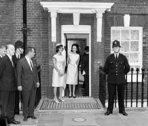 The sisters outside Lee's London home prior to the christening of the First lady's niece Anna Christina Radziwill. 5th June 1961.