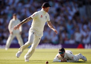 Joe Root on the floor after dropping a catch from Steve Smith.