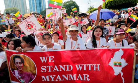 Protest in Yangon in support of Aung San Suu Kyi