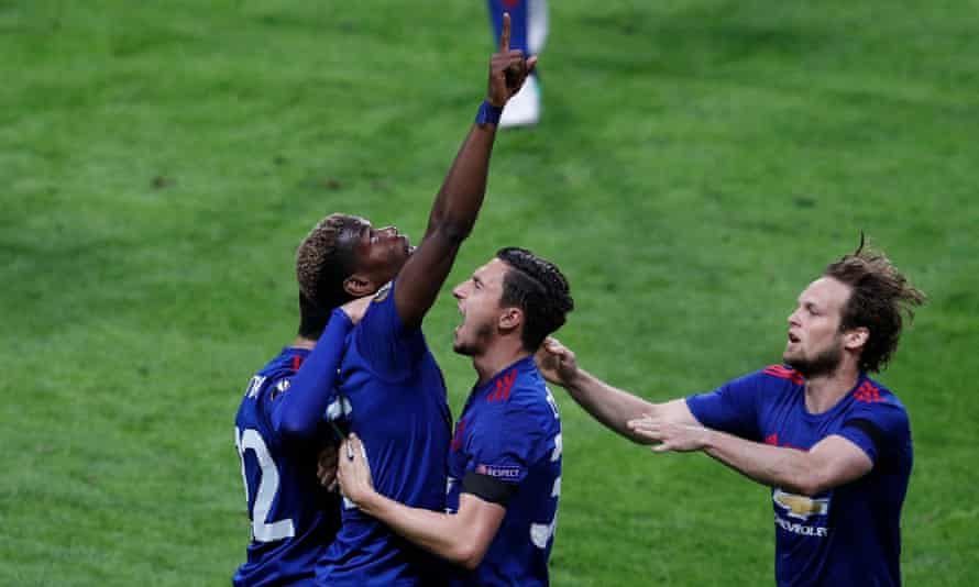 Manchester United's Paul Pogba celebrates with Matteo Darmian after scoring in the 2017 Europa League final against Ajax.