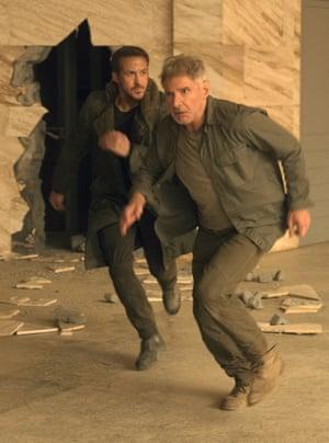 Running men … Ryan Gosling and Harrison Ford.