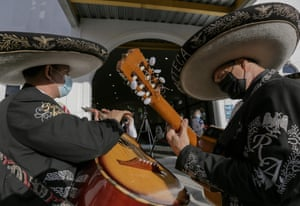 Mariachi Rey Azteca band performing in front of the San Gerardo Mayela Church commemorating Mother's Day in Panama City.