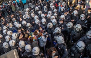 Istanbul, TurkeyPolice officers detain protesters during a demonstration in support of Boğaziçi University students protesting against the appointment of Melih Bulu, a ruling Justice and Development Party (AKP) loyalist, as the new rector of the university